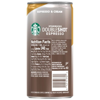 Starbucks Doubleshot® Espresso + Cream Coffee Drinks 6.5 oz cans, 12 Pack photo