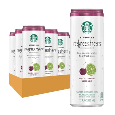 Starbucks Refreshers™  Black Cherry Limeade 12 oz cans, 12 Pack photo