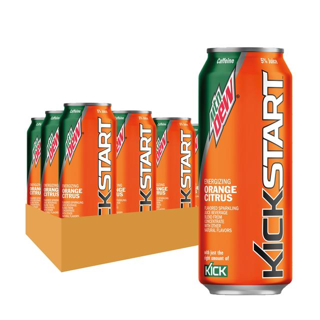 Mtn Dew Kickstart Orange Citrus Energy Drink 16 Fl Oz 12 Ct Cans